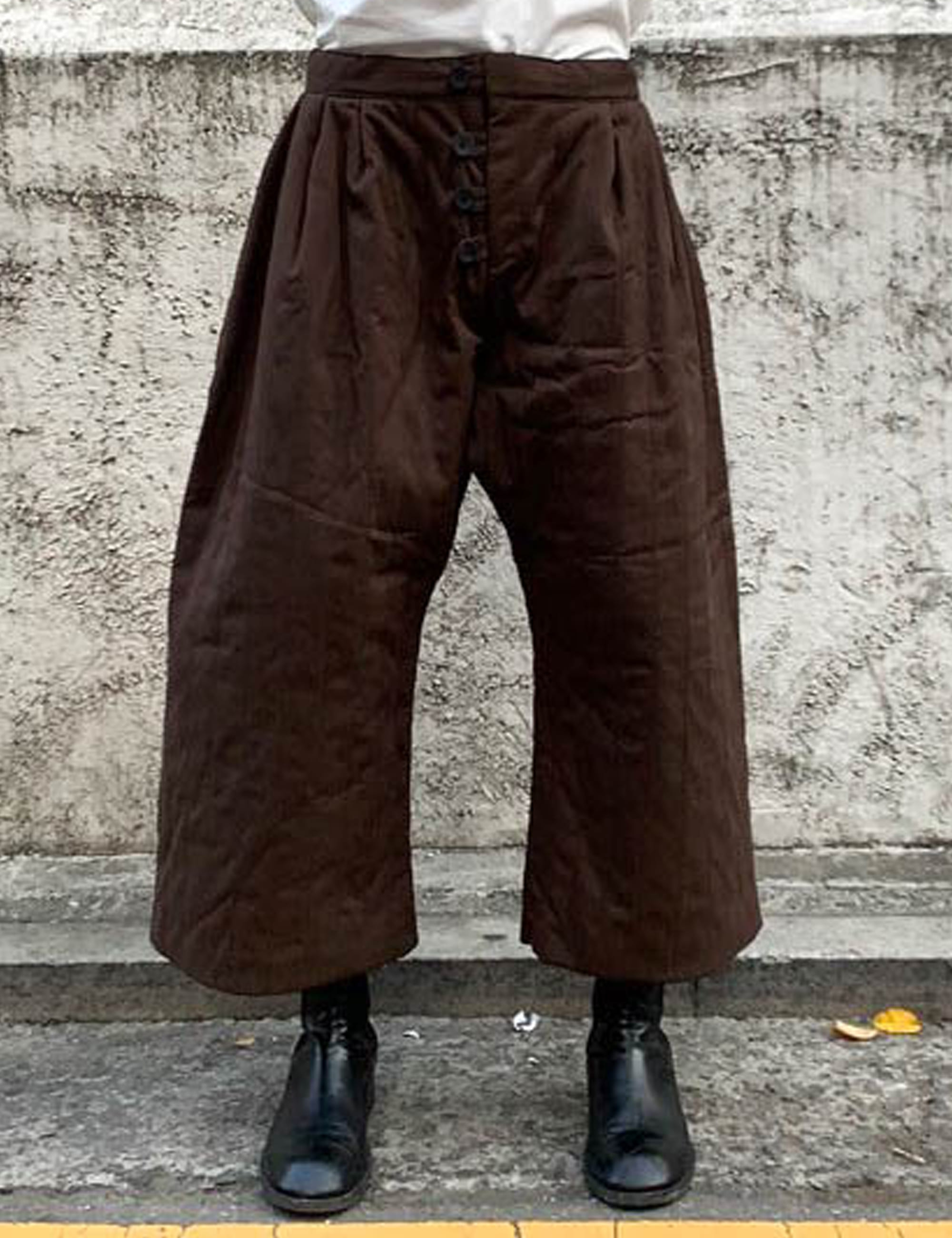 [EXCLUSIVE] QUILTED PANT_BROWN BRUSHED COTTON, QUILTED