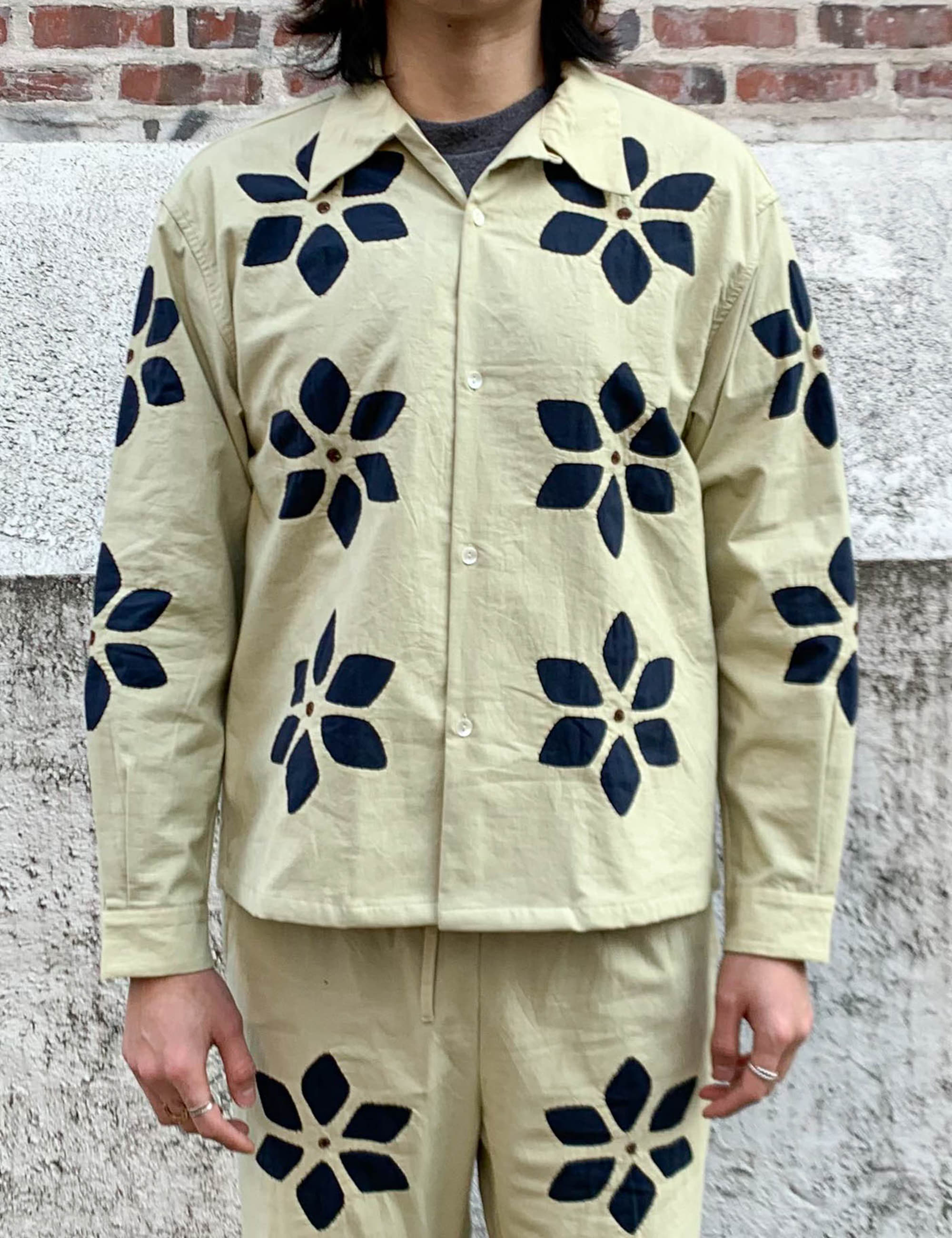 FLOWER CUT WORK SHIRTS_BEIGE