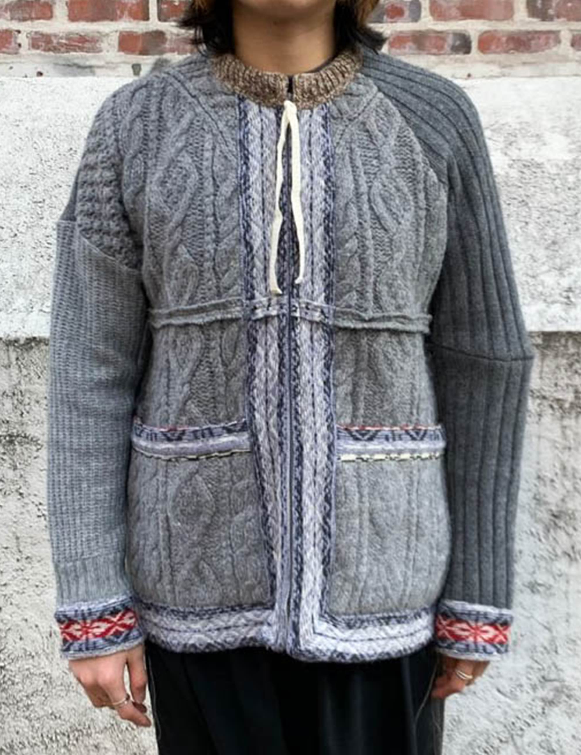 RE:KNIT ZIP CARDIGAN_GREY