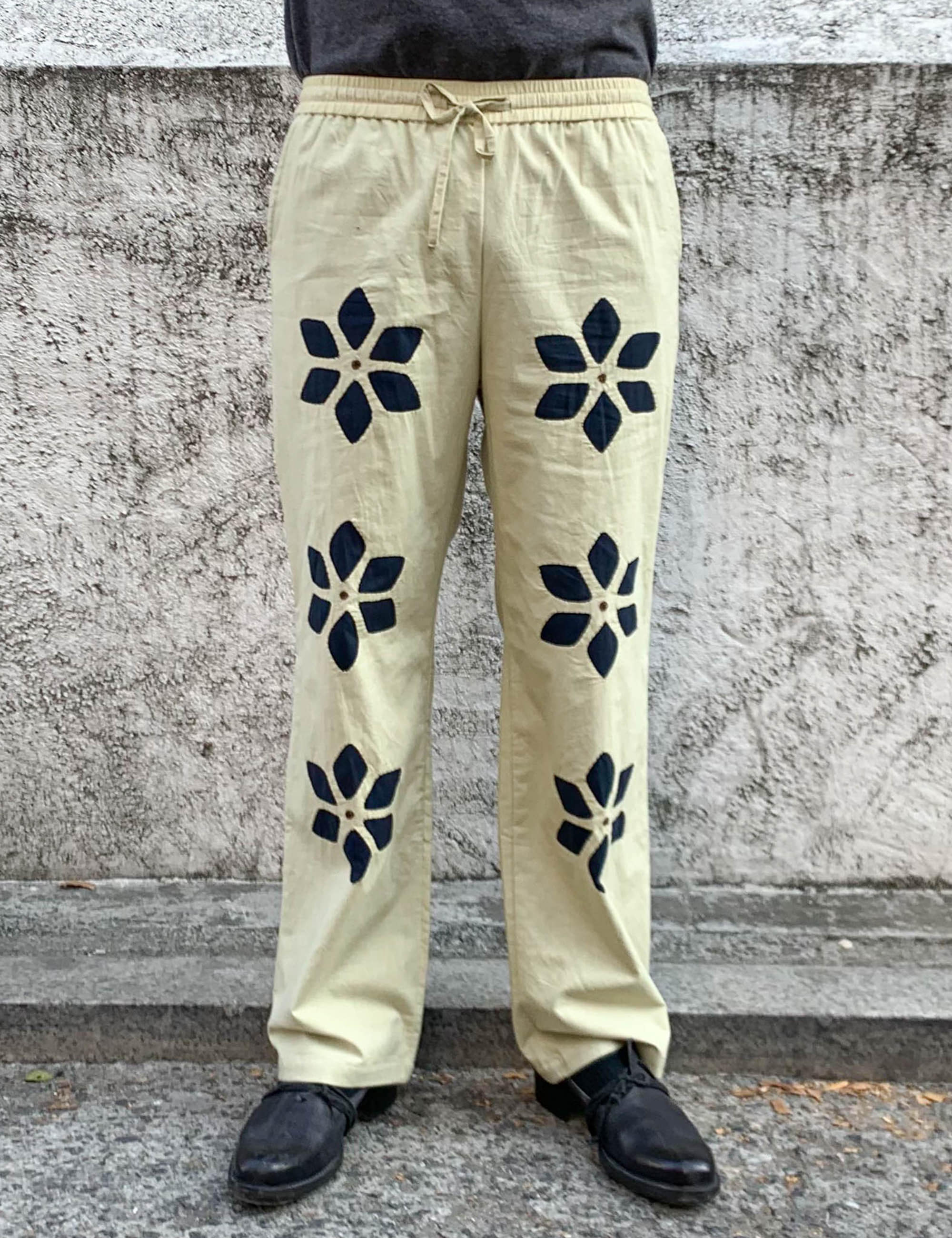 FLOWER CUT WORK PANTS_BEIGE