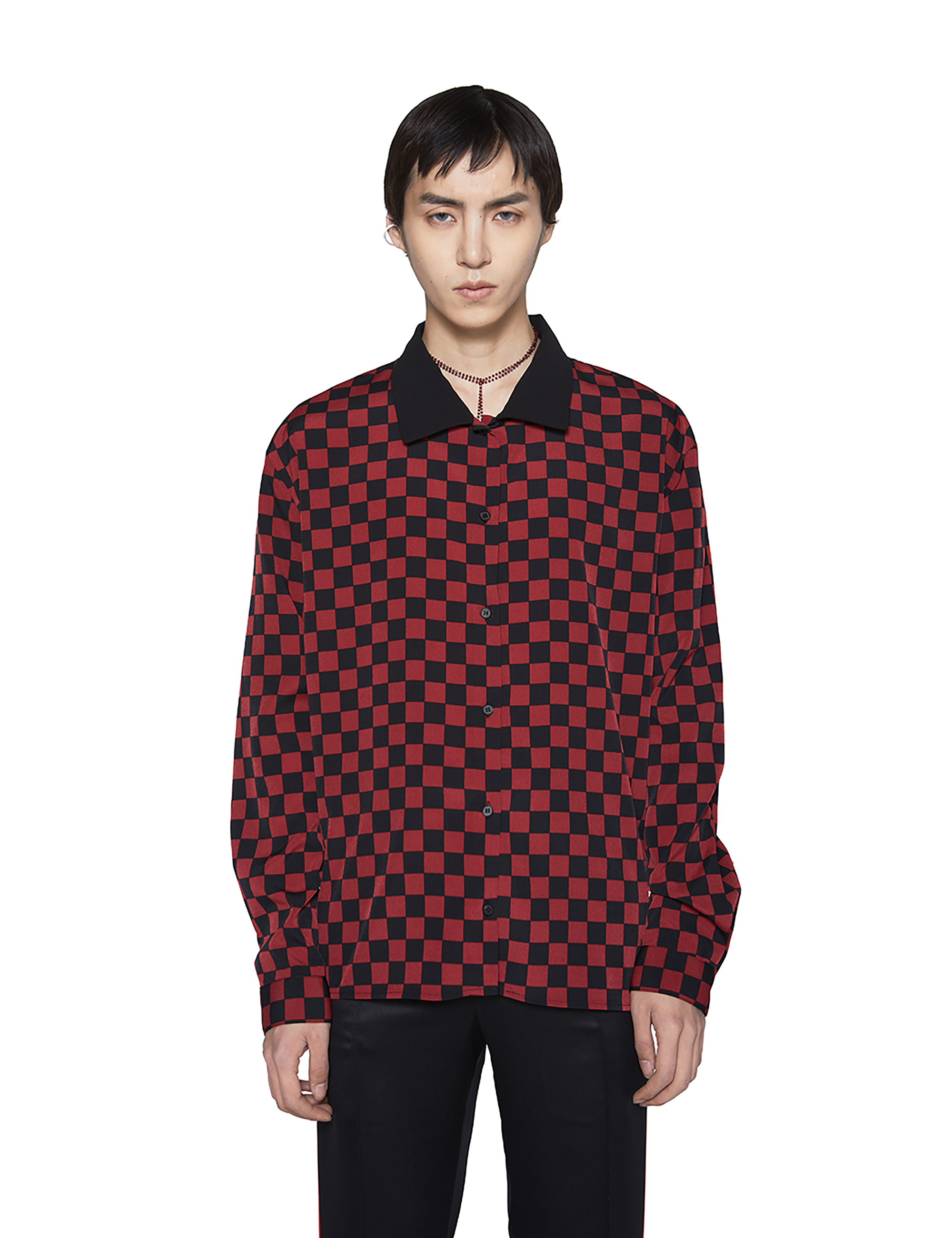 OVERSIZED CROP SHIRT_RED CHECK