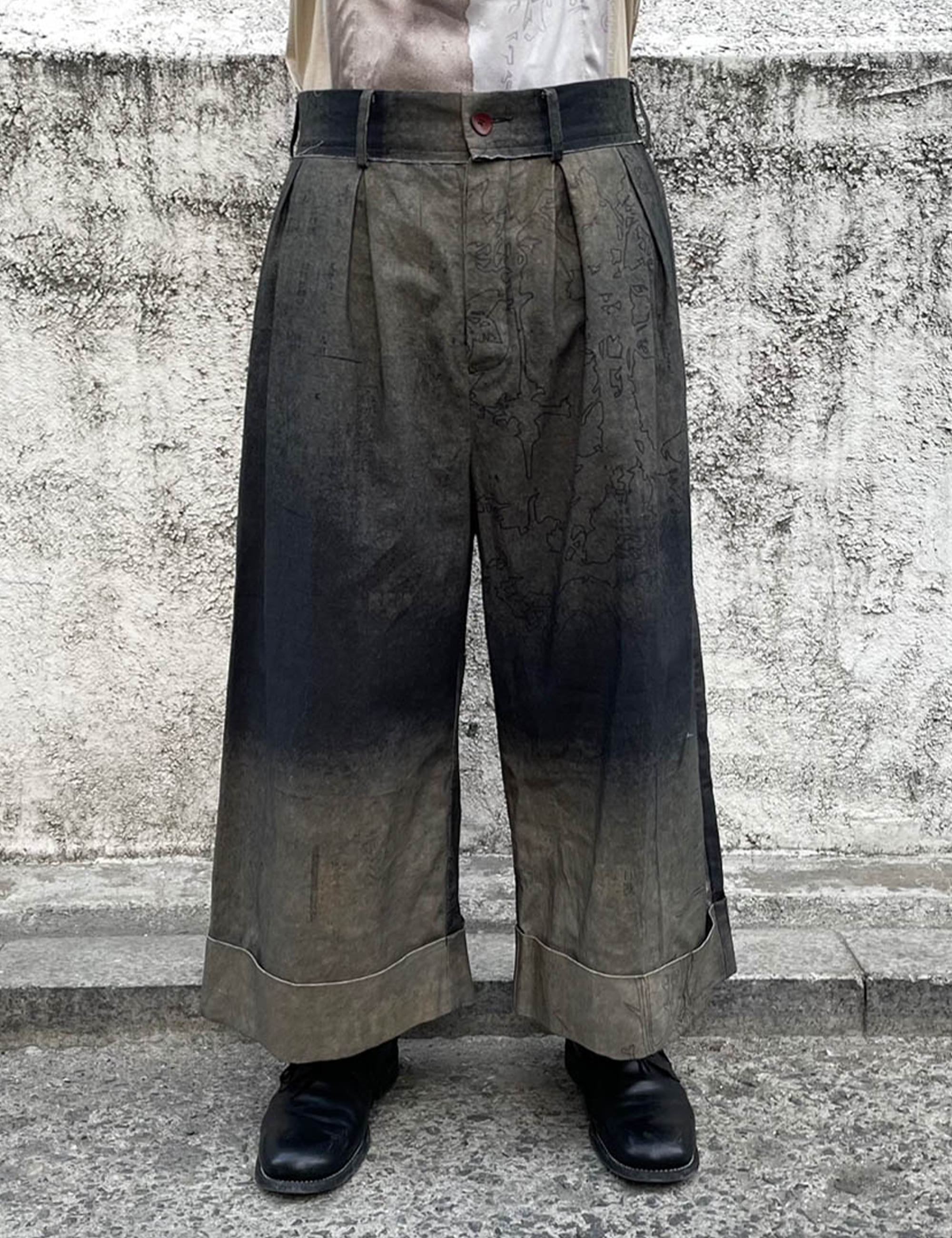 LINEN PRINTED BAGGY TROUSERS