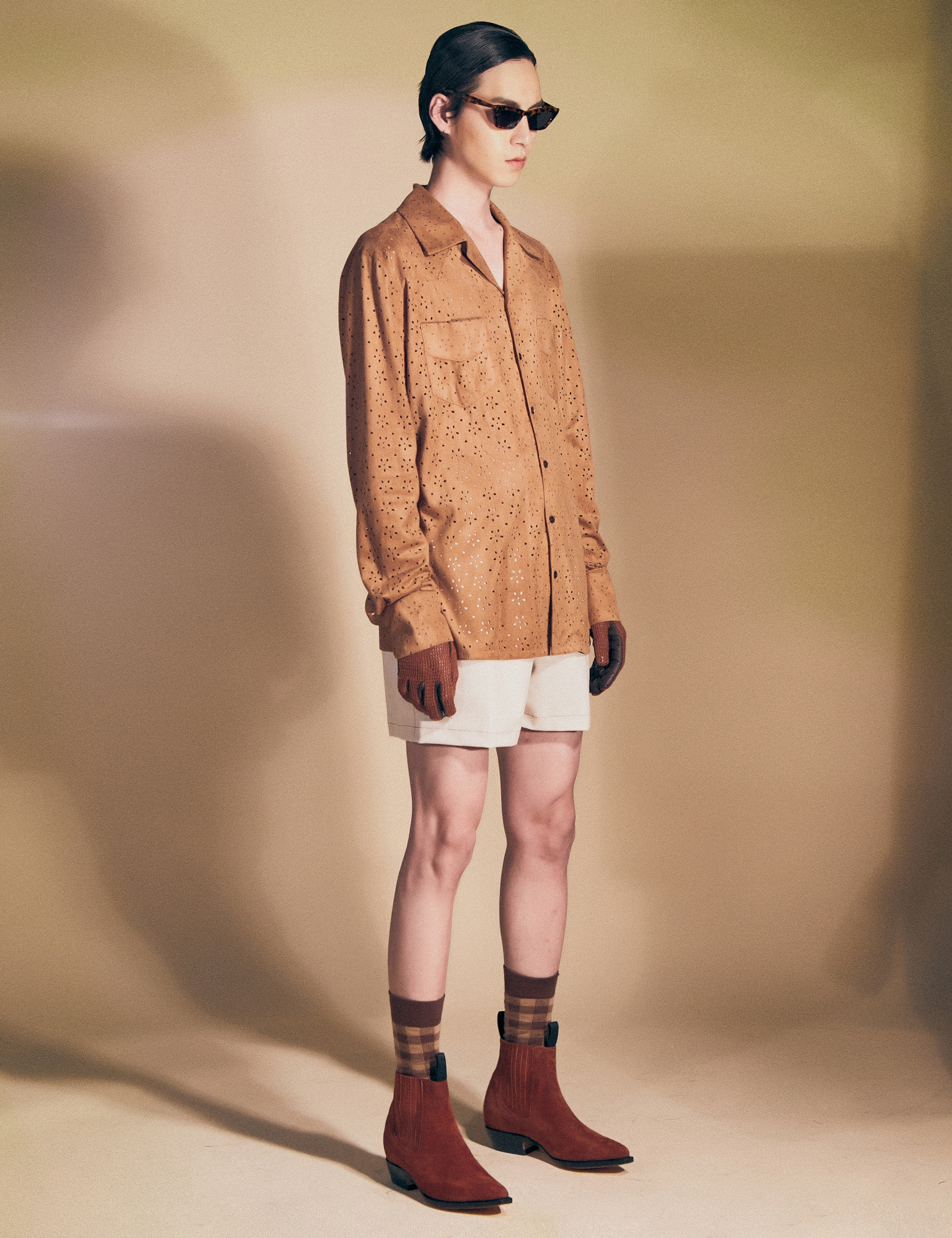 WESTERN L/S SHIRTS_CAMEL SUEDE