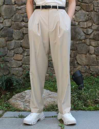 2TUCK OVERSUIT PANTS_BEIGE