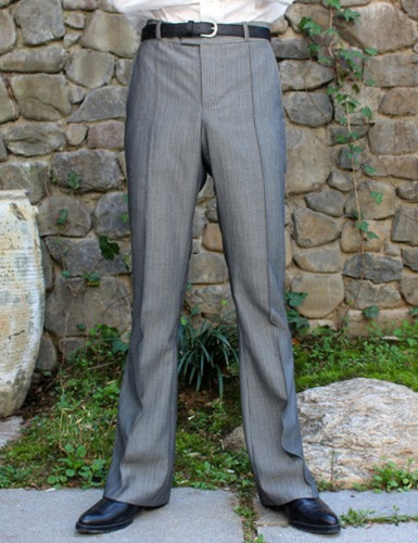 CLASSIC FLARE SUIT PANTS_GRAY STRIPE