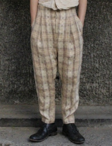 [EXCLUSIVE] CINCH BACK TROUSERS_CHECK LINEN