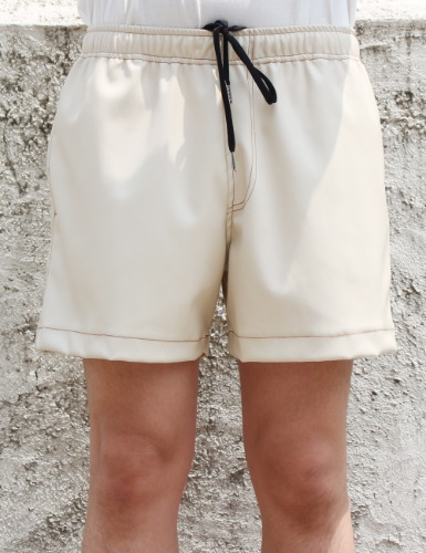 LEATHER SHORTS_CREAM