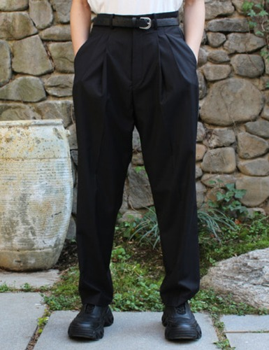 2TUCK OVERSUIT PANTS_BLACK