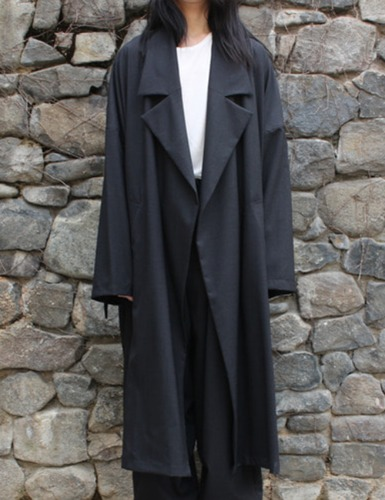 WORSTED WIDE LONG COAT_CHARCOAL