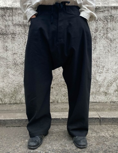 TROUSERS_BLACK WOOL/LINEN TWILL