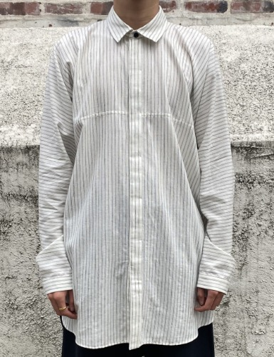 SHIRT_STRIPED COTTON/WOOL SHIRTING