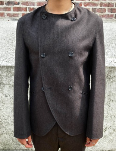 DB COLLARLESS SUIT JACKET_BROWN