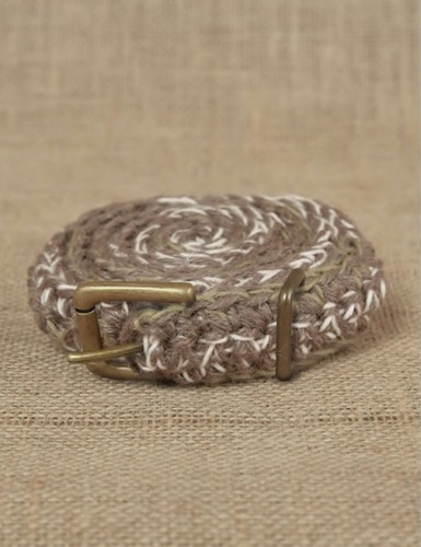 HAND CROCHET BELT_BROWN/Natural