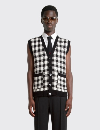 SLEEVELESS JACQUARD CARDIGAN_BLACK&WHITE CHECK