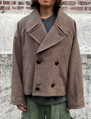 CROPPED PEA COAT_CEDAR BROWN