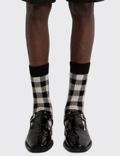 CHECK JACQUARD SOCKS_BLACK&WHITE CHECK