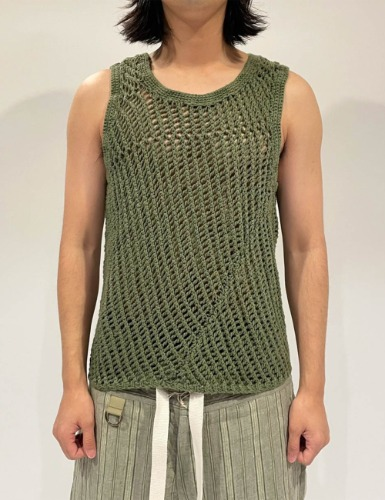 [EXCLUSIVE] HAND DYED KNITTED VEST_GREEN