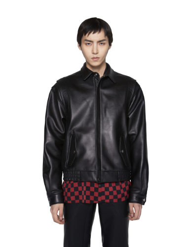 LOGO CIRCLE PRINTED TEDDY LEATHER JACKET