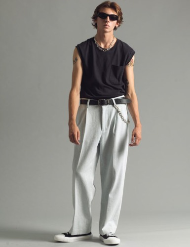 VELLUTO PLEATED TROUSER_COLD STONE