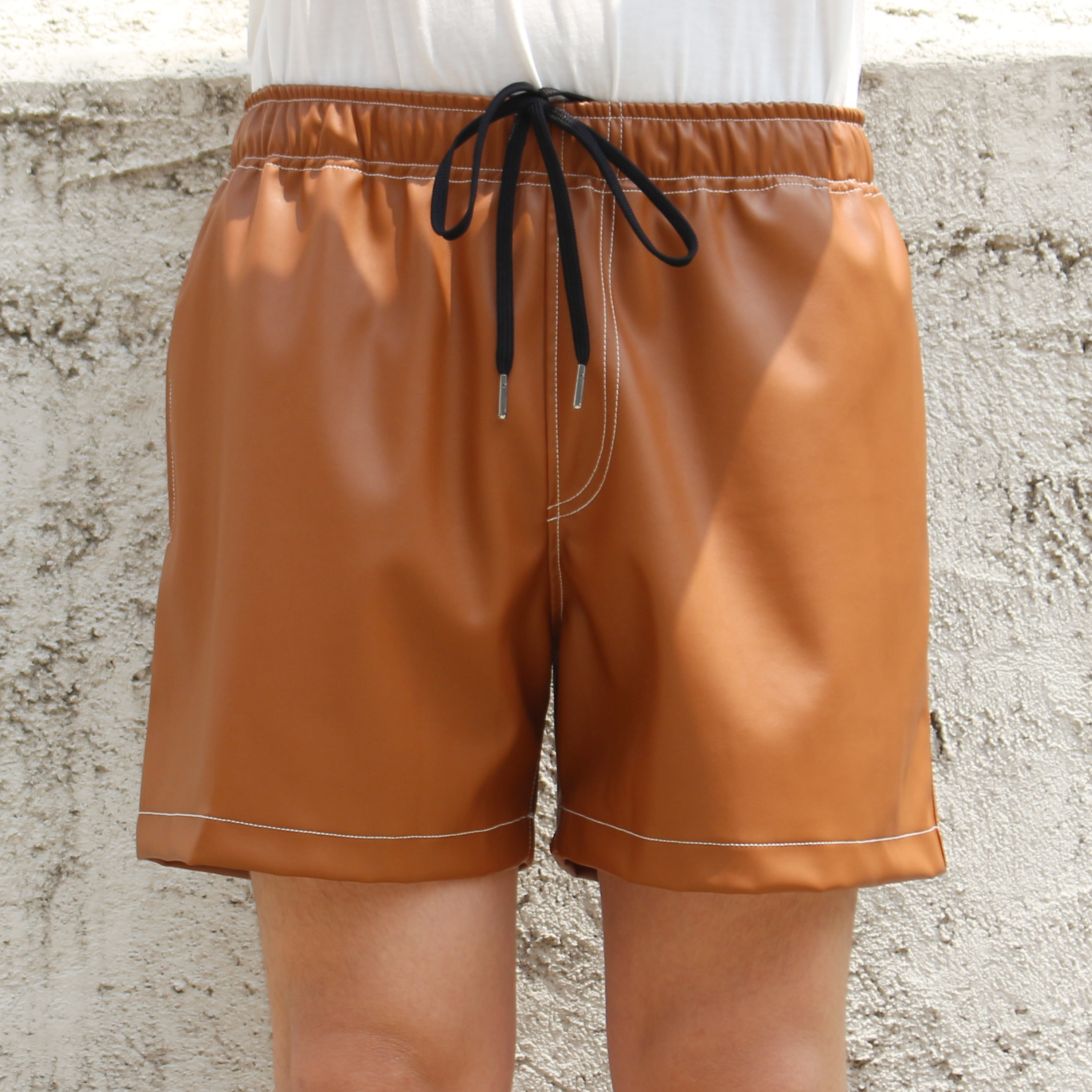 LEATHER SHORTS_BROWN