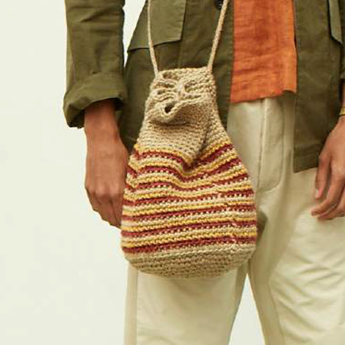 HAND KNITTED DRAWSTRING JUTE BAG_NATURAL/YELLOW/RED