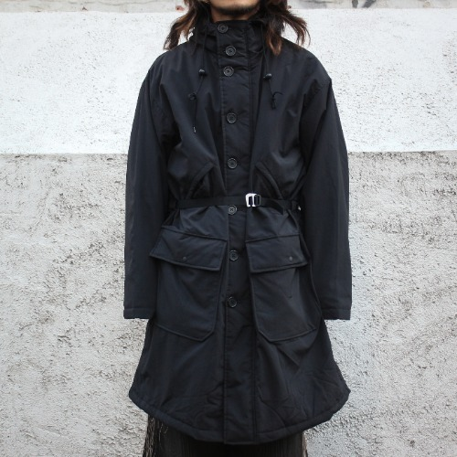LONG BUTTON FRONT PARKA_BLACK