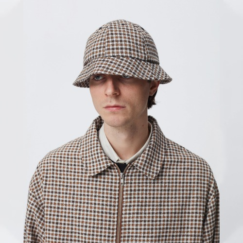 BELL HAT_BROWN CHECK