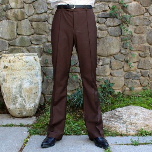 CLASSIC FLARE SUIT PANTS_BROWN