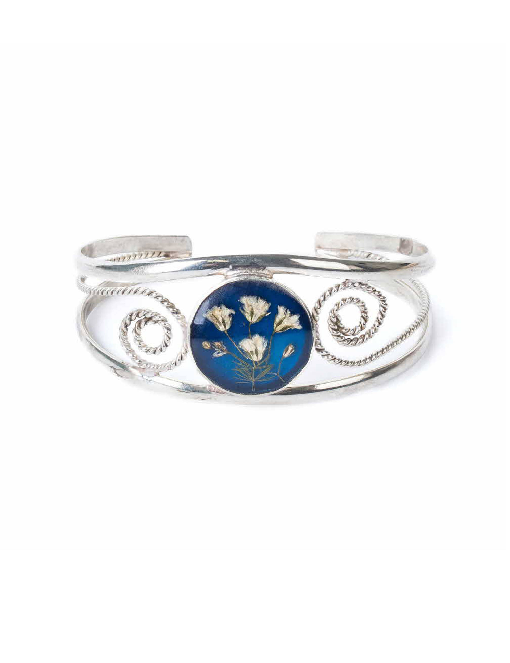 FLOWER WIDE BRACELET_BLUE