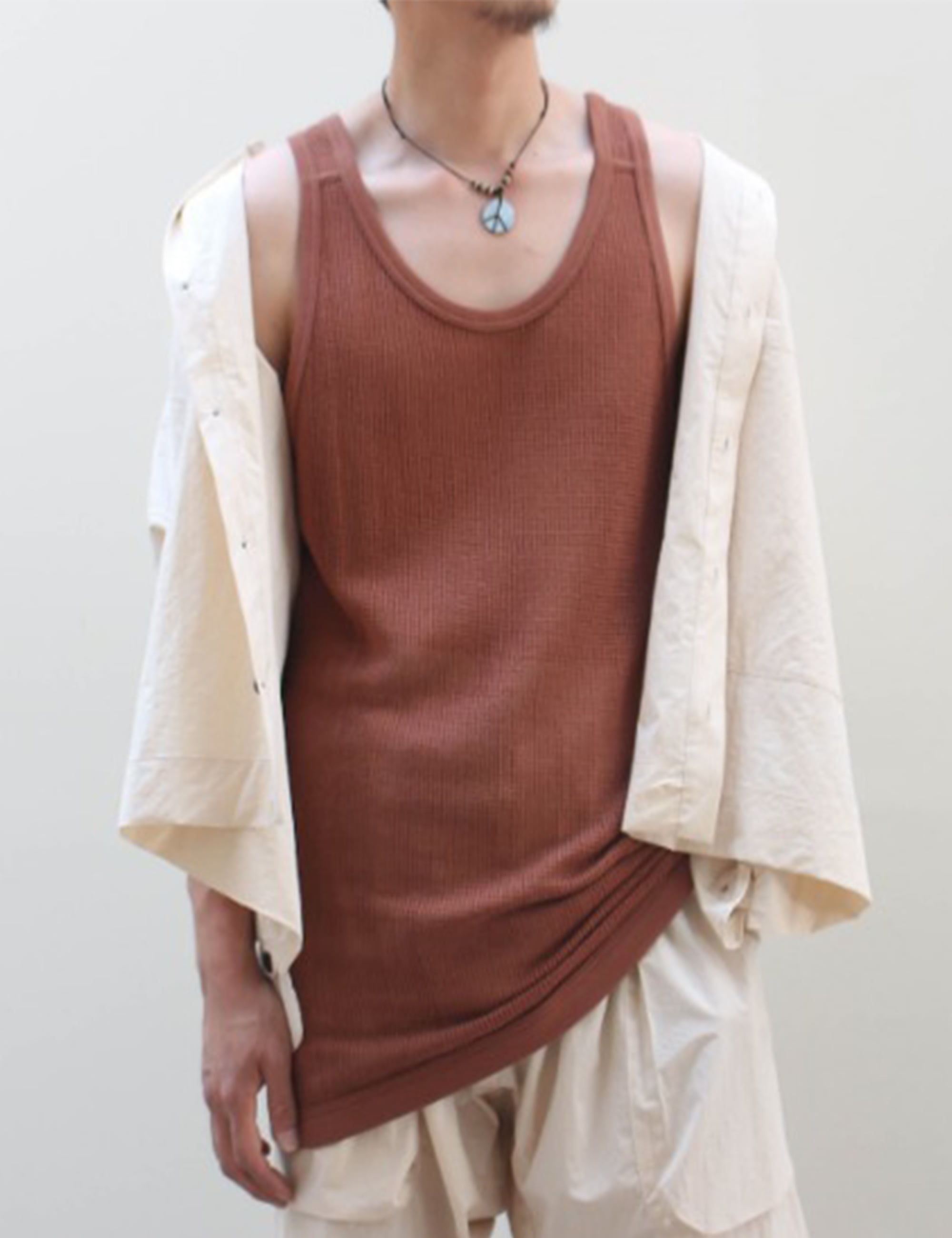 REGULAR FIT MESH TANK TOP_TABAC