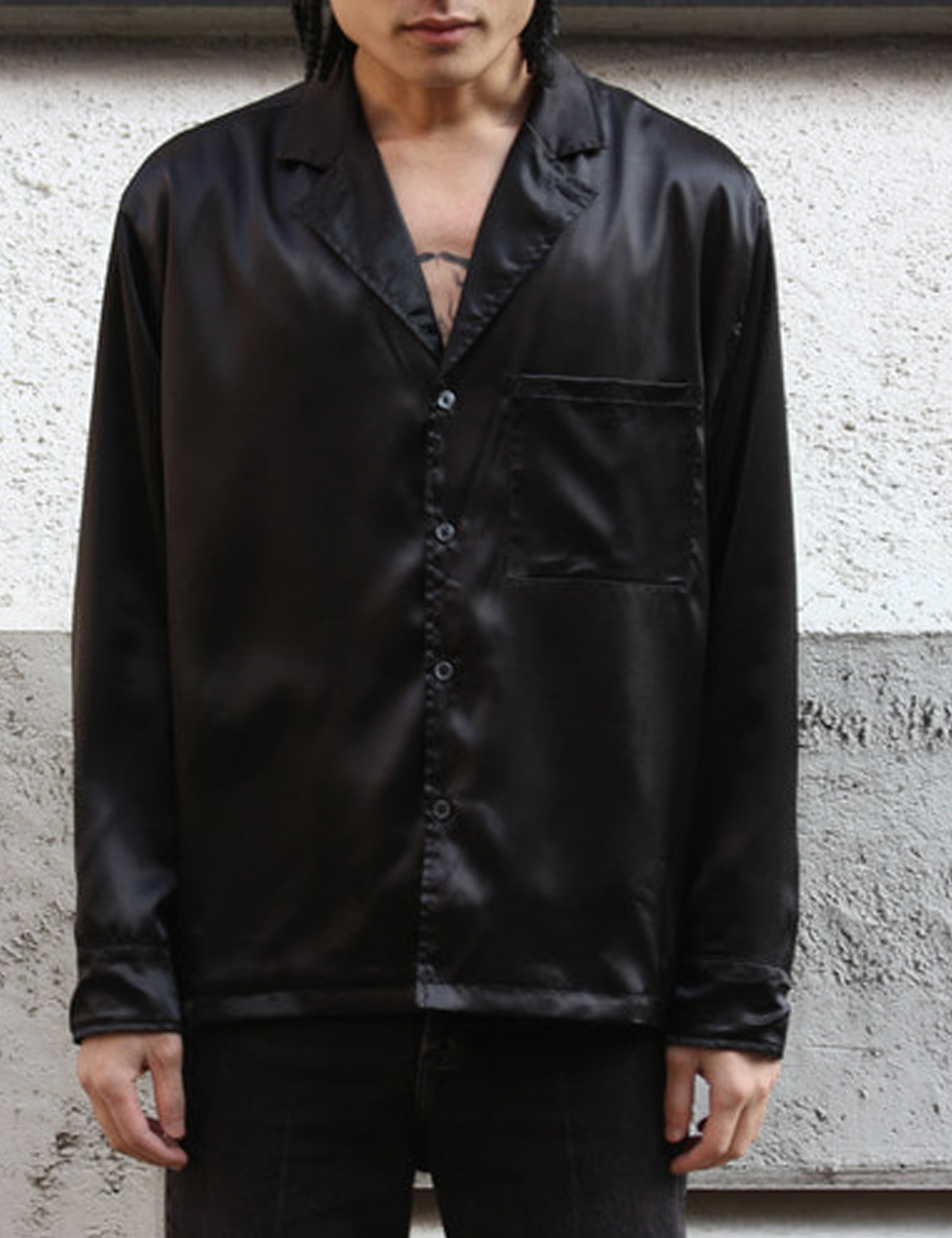 WASHED SATIN LAPEL SHIRT_BLACK POWER