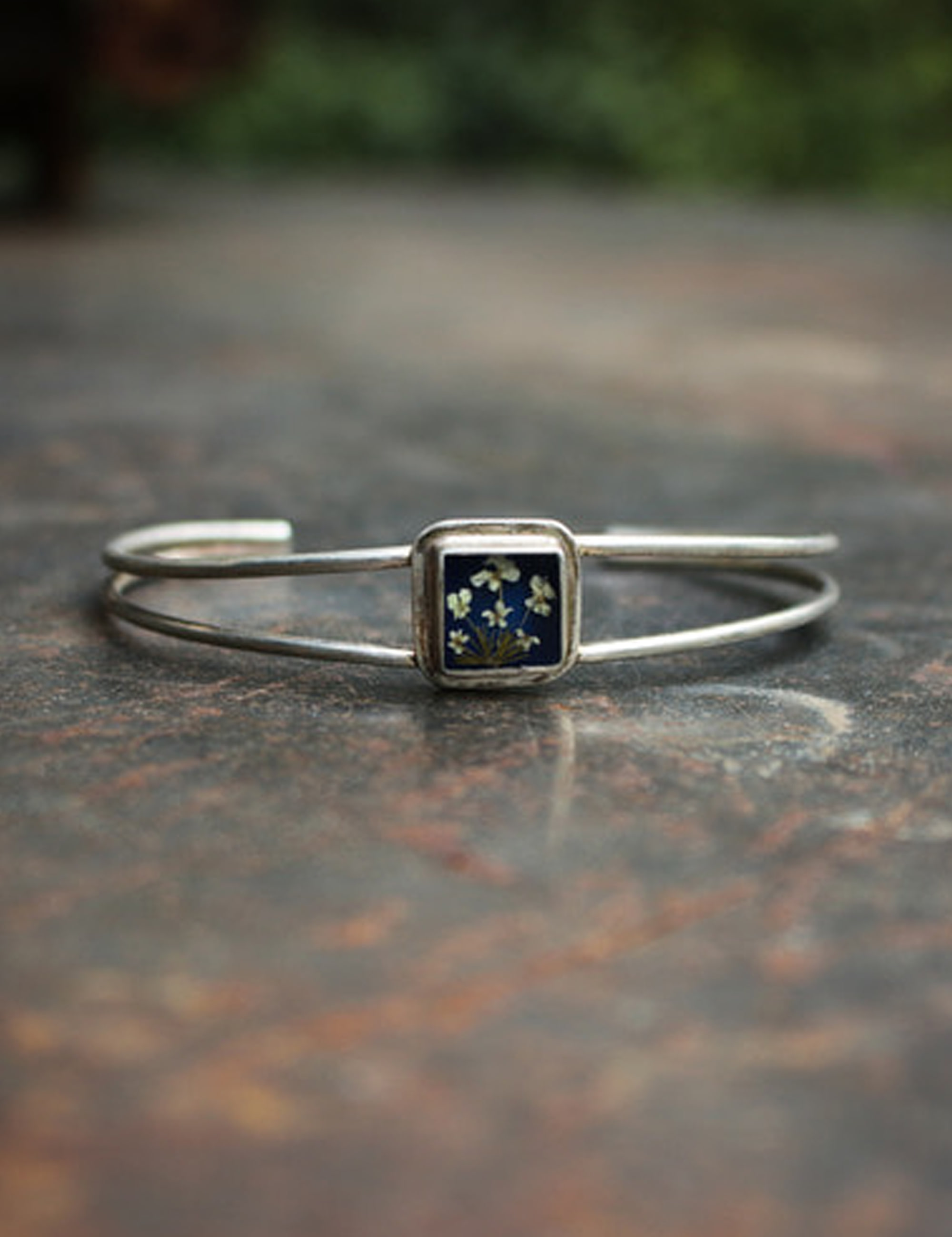 FLOWER EXTRAFINE SQUARE BRACELET_BLUE