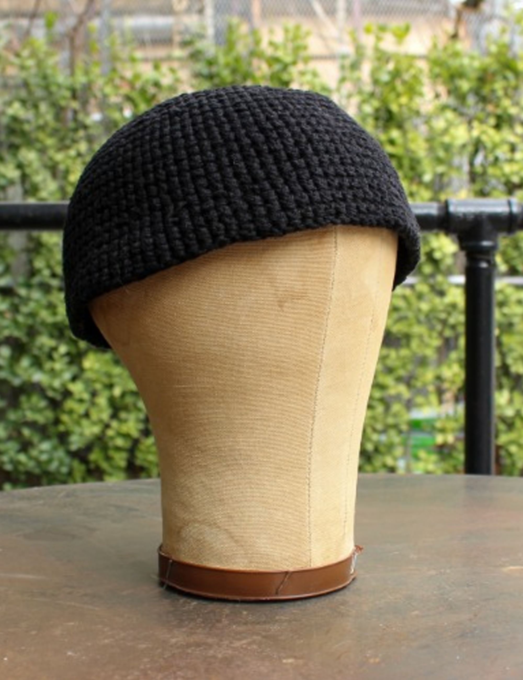 BEANIE#7_BLACK COTTON/LINEN