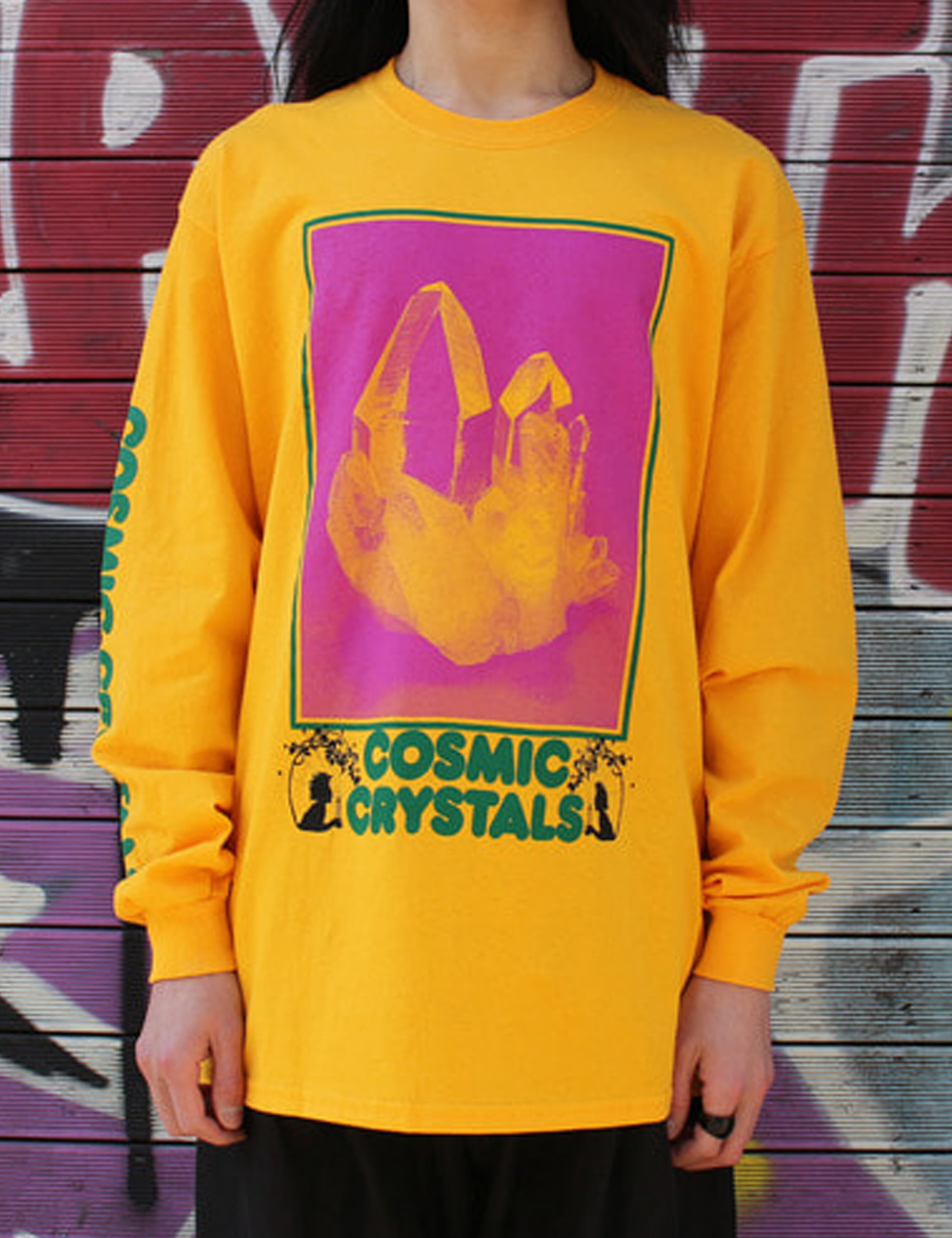 COSMIC CRYSTALS LS TEE_GOLD