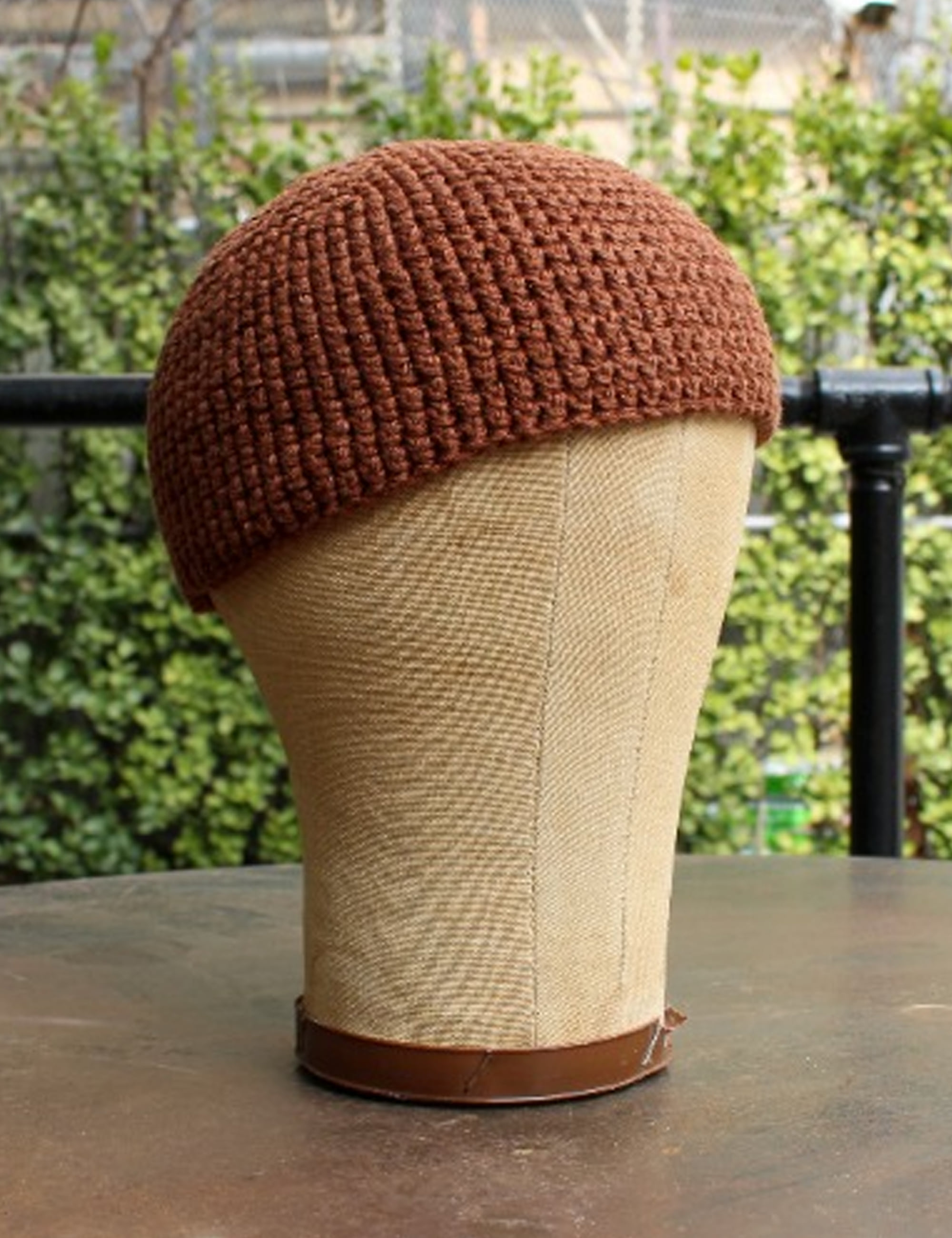 BEANIE#7_RUST COTTON/LINEN