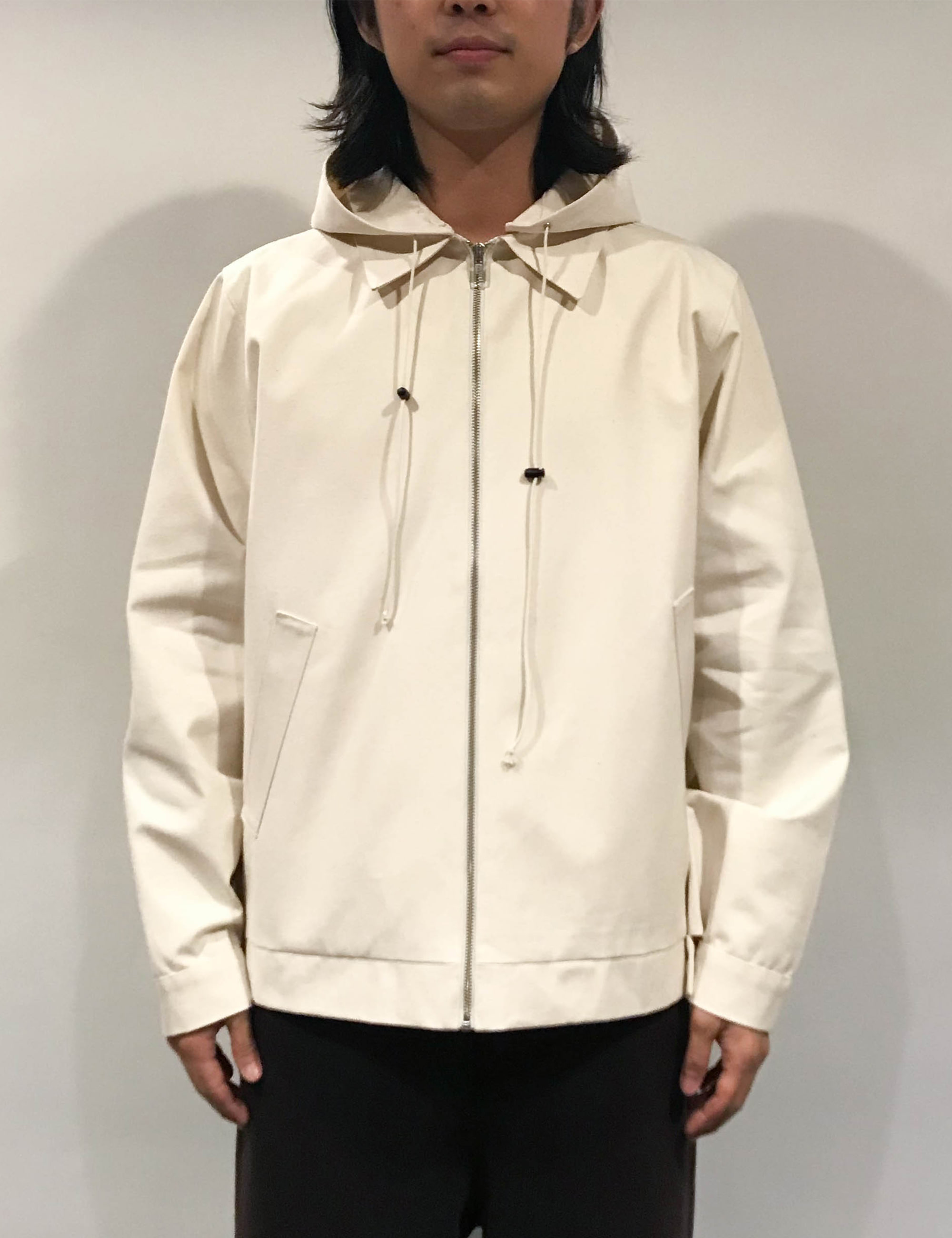 HOODED SIMPLE JACKET CANVAS OFF-WHITE