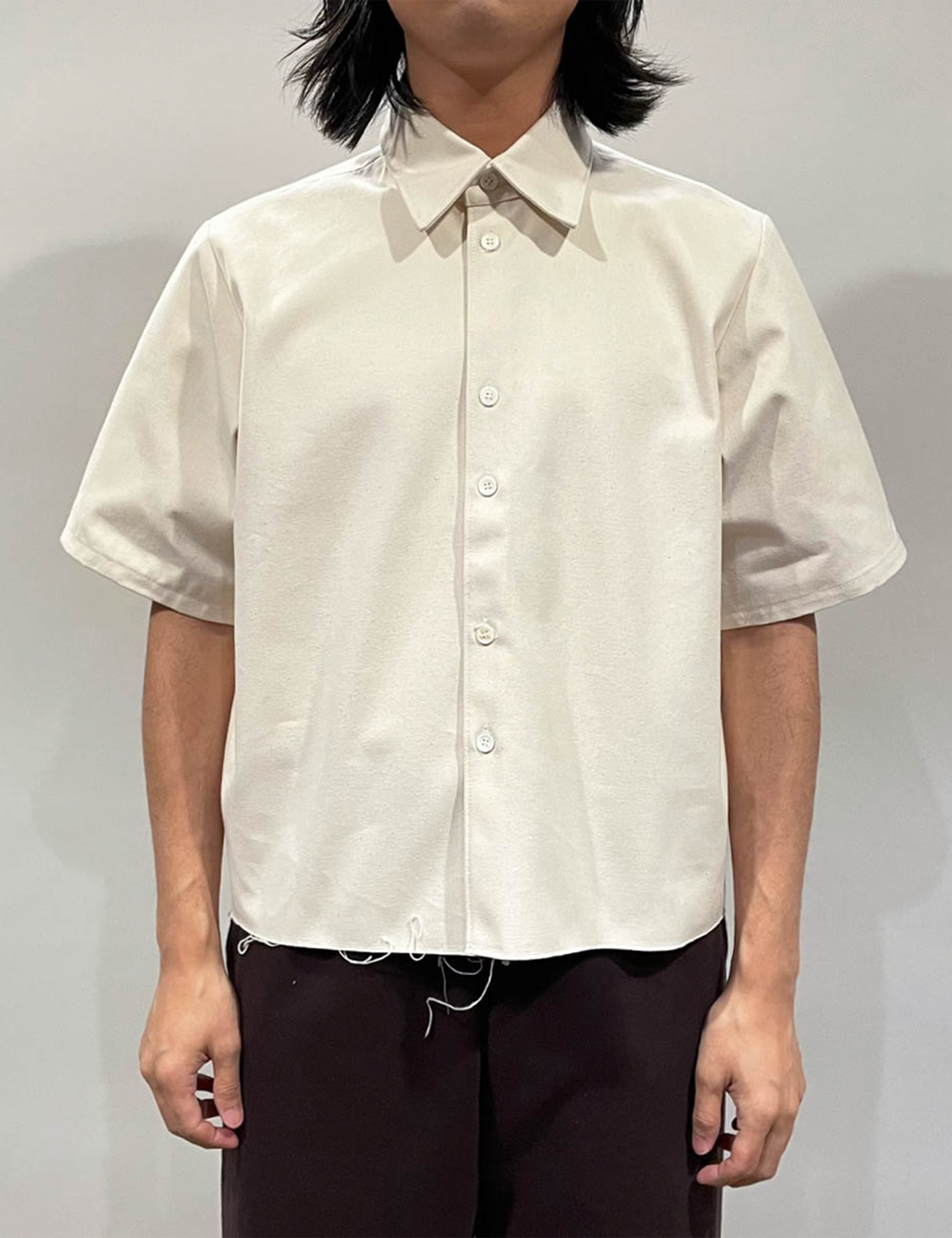 SHIRT SHORT SLEEVE CROPPED CANVAS OFF-WHITE