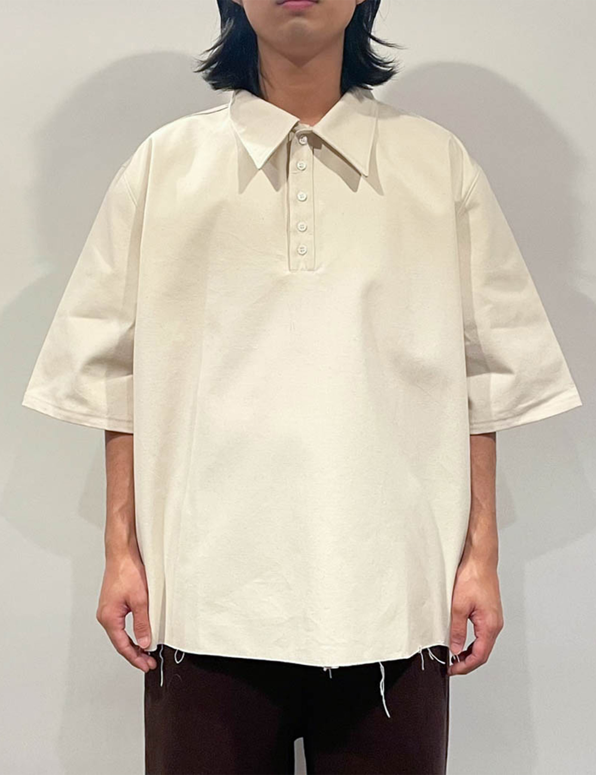 POLO SHIRT SHORT SLEEVE CANVAS OFF-WHITE